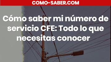 Cómo saber mi número de servicio CFE